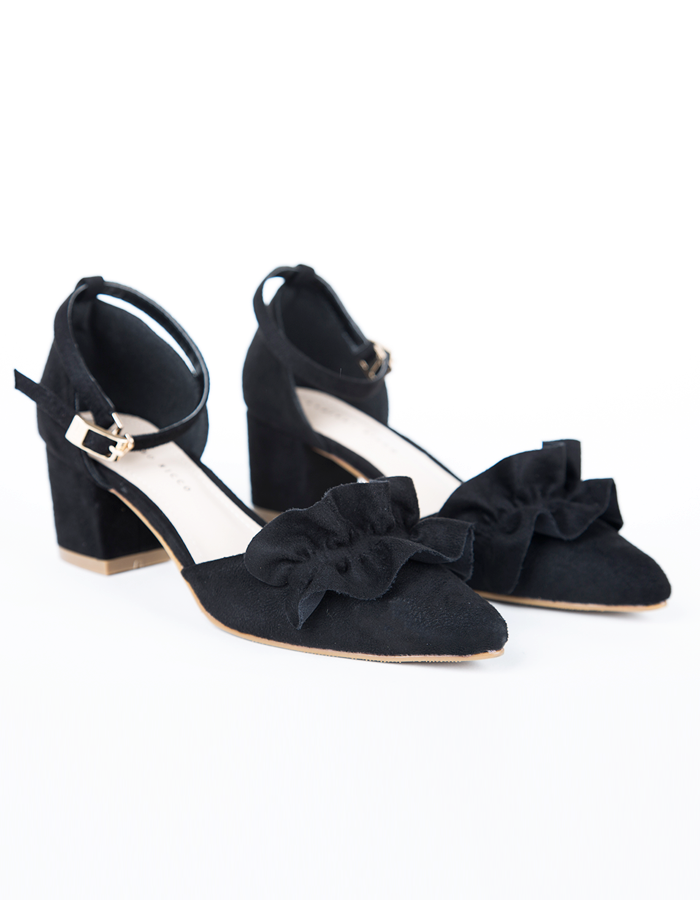 RUFFLE DETAIL ANKLE STRAP HEELED PUMPS #25945