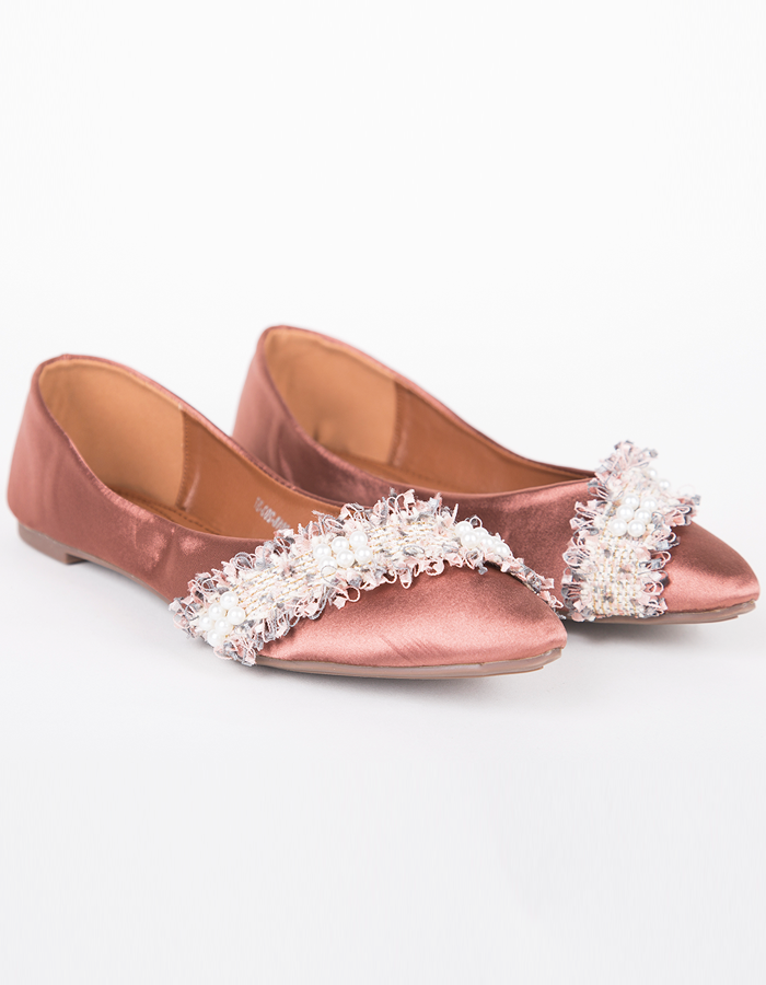 PEARL EMBELLISHED POINTED FLATS #25983