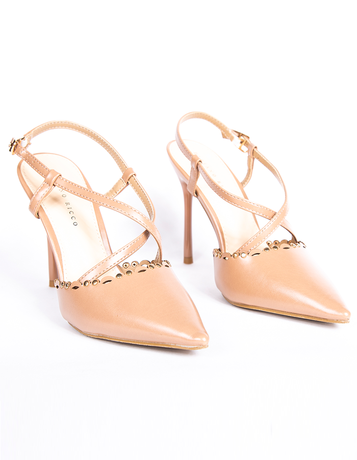 LASER CUT STUD DETAIL SLINGBACK PUMPS #25857