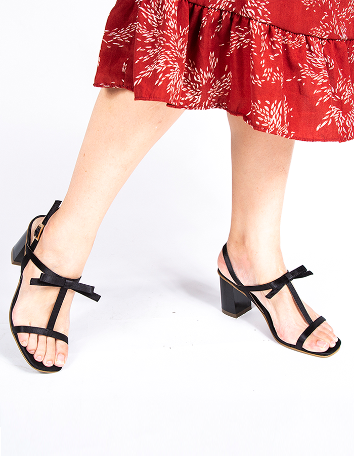 KNOTTED BOW T-BAR SLINGBACK SANDALS #25926