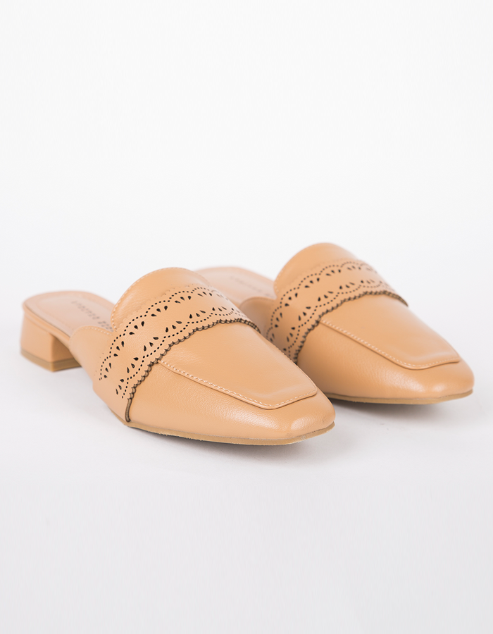 LASER CUT FAUX LEATHER MULES #25868