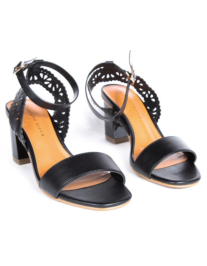 LASER CUT ANKLE STRAP SANDALS #25884
