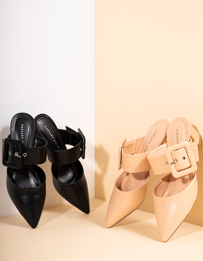 BUCKLE DETAIL BLOCK HEELS #26101