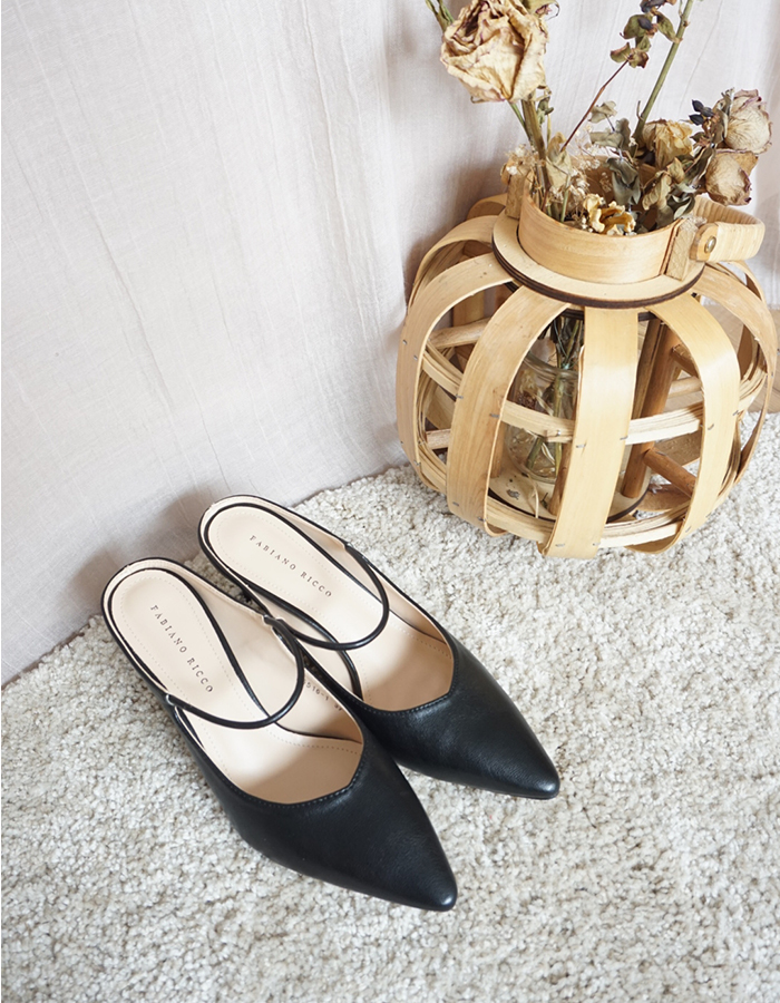 LEATHER MARY JANE HEEL MULES #26315