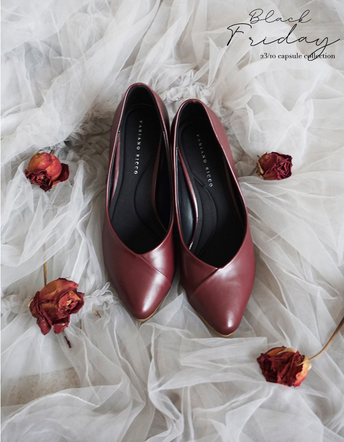 LEATHER POINTED TOE HEELS #26343