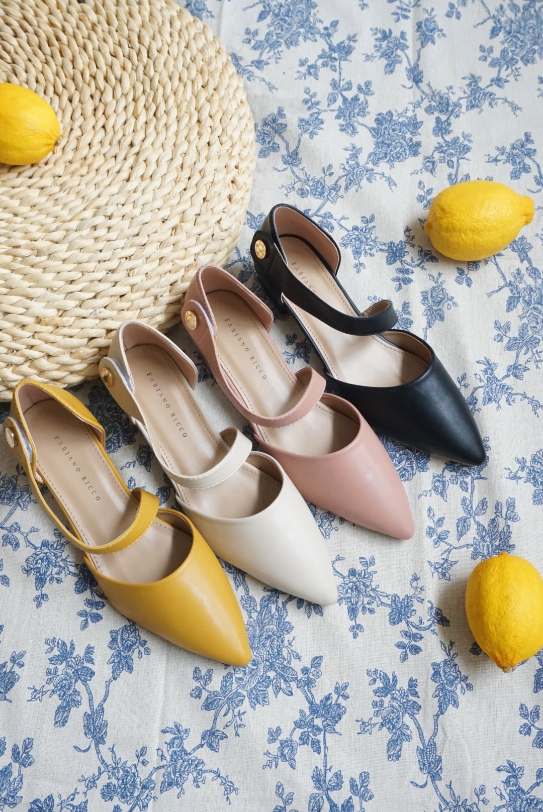 RUCHED STRAP POINTED TOE FLATS #26415
