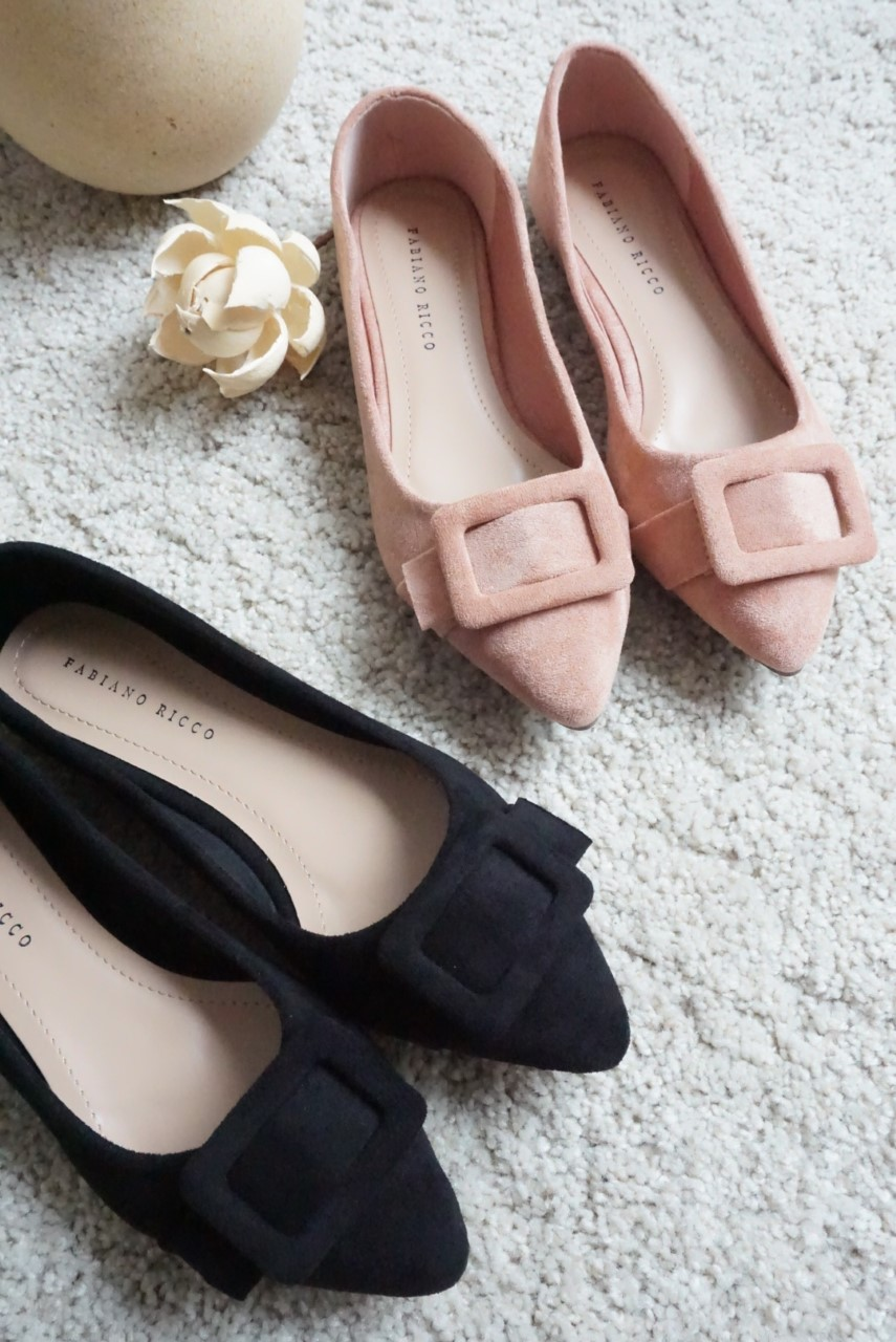 RETRO BUCKLE POINTED TOE FLATS #26412